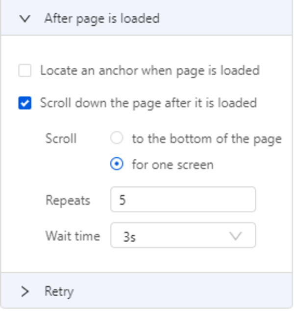 """Scroll to """"for one screen"""""""